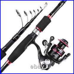 2.1M-2.7M Fishing Rod Combo Telescopic Rod Spinning Reel Line Lure Set Carry Bag
