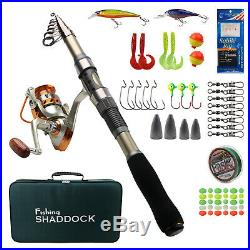 2.1M-2.7M Saltwater Fishing Rod and Reel Combo Telescopic Spinning Rod with Bag