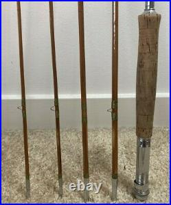 Antique Vintage Pearl Split Bamboo 5 Piece Fly/spin Combo Fishing Rod Excellent