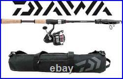 Daiwa D-Travel Telescopic 7'2 Med Cork Spinning Rod Combo with Bag DTC25Bi72TMFSC