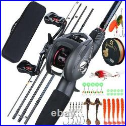 FULL CASE Fishing Set SPINNING Combo 5 Section Carbon ROD + REEL & Accessories