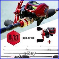 Fishing Combos Set 4 Section M Power Carbon Fiber Left Right Reel Baitcsting Rod