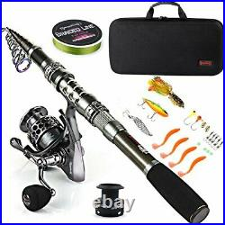 Fishing Rod Combos with Telescopic Fishing Pole Spinning Reels Carrier Bag, 1.8M