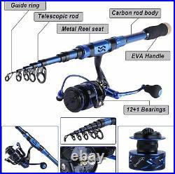 Fishing Rod Reel Combos Carbon Fiber Telescopic Pole Saltwater Freshwater Kit