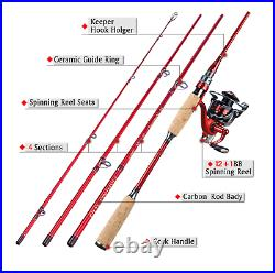 Fishing Rod and Reel Combo 4 Section Carbon Fiber Fishing Rod 2.1m with Reel