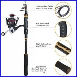 Full Fishing Reel Rod Kit Telescopic Rod Combo Spinning Reel Line Accessories