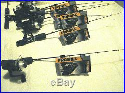 Lot of (9) Frabill Fenris 24 Light Ice Fishing Rod and Reels 682205 New