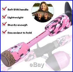 ODDSPRO Kids Fishing Pole Pink, Portable Telescopic Fishing Rod and Reel Combo K