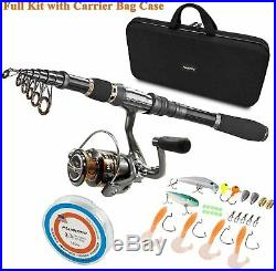 PLUSINNO Fishing Rod and Reel Combos Carbon Fiber Telescopic Fishing Rod with Re