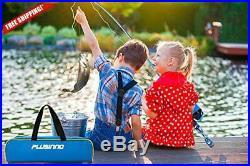 PLUSINNO Kids Fishing Pole with Spincast Reel Telescopic Fishing Rod Combo Full