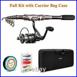 PLUSINNO Spinning Rod and Reel Combos Telescopic Fishing Rod Pole with Reel