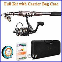 PLUSINNO Telescopic Fishing Rod Reel Combos Full Kit Spinning Fishing Gear Or