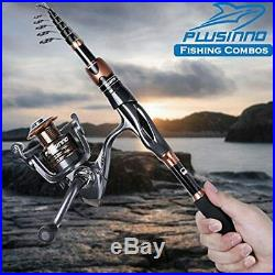 PLUSINNO Telescopic Fishing Rod and Reel Combo, Carbon Fiber Fishing Pole with 1