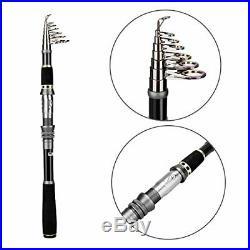 PLUSINNO Telescopic Fishing Rod and Reel Combos Full Kit Carbon Fiber 1.8M