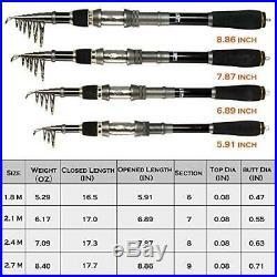 PLUSINNO Telescopic Fishing Rod and Reel Combos Full Kit, Carbon Fiber Fishing