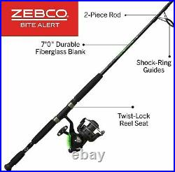 Quantum Fishing Zebco Bite Alert Spinning Reel and 2-Piece 7FT Fishing Rod Combo