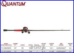 Quantum Pulse Baitcast Reel and Fishing Rod Combo, ComfortGrip Handle