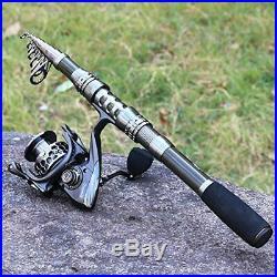 Set Fishing Rod and Reel Combos Carbon Fiber Telescopic Fishing Pole 8.86 FEET