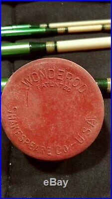 Shakespeare WONDEROD 1459 bag & tube 7' 0 Green 1958 Travel Fly Spinning Combo