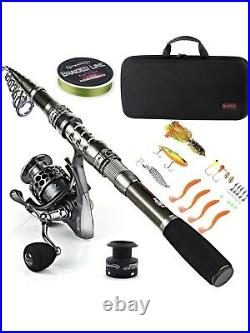 Sougayilang Fishing Rod Combos with Telescopic Fishing Pole Spinning Reels