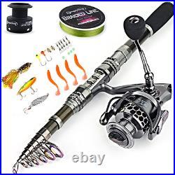 Sougayilang Fishing Rod Combos with Telescopic Fishing Pole Spinning Reels Bag