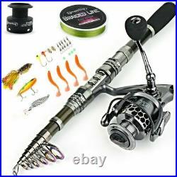 Sougayilang Fishing Rod Combos with Telescopic Fishing Pole Spinning Reels Fishi