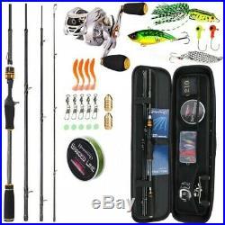 Sougayilang Fishing Rod Reel Combo Carbon Fiber 4 Piece Freshwater Saltwater