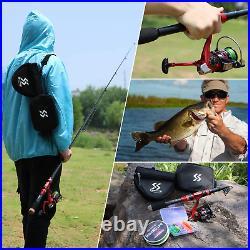 Sougayilang Portable Telescopic Fishing Rod Reel Combos Carbon Fiber Spinning Fi