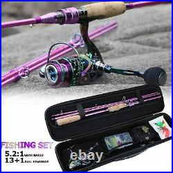 Spinning Fishing Rod And Reel Combo Line Lure Bag Hooks Float Full Set Tackle