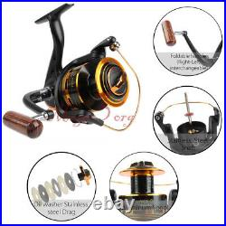 Spinning Fishing Rod Reel Combos Portable All in One 1.8-2.1M Pole Jig Kit Lure