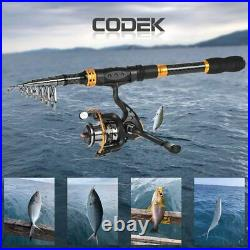 Spinning Fishing Rod and Reel Combos for Beginner Carbon Fiber Portable Telescop