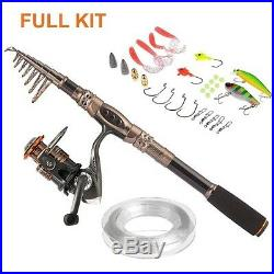 Spinning Rod & Reel Combos Carbon Telescopic Freshwater Fishing Kits 4sz Choices