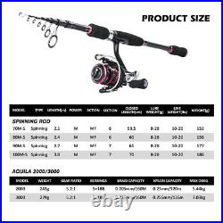 Telescopic Fishing Rod Combo 2.1M-3.0M Spinning Rod and Reel Line Lures Full Kit