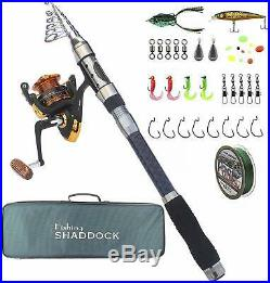 Telescoping Fishing Rods and Reels Combo Travel Fishing Poles Spinning Reel