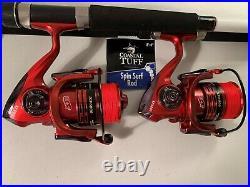 Two Coastal Tuff 8 Rod & XF6000 (13+1 bb) Reel (Red Braid) Combos