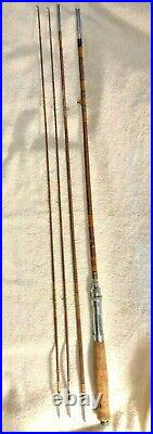 Vintage Bamboo Fly Rod 8 3pcs 2 tips fly/spin combo rod Excellent Condition