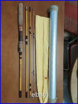 Vintage Eagle Claw 5 Piece, 7 ½ Packit No. 600 Combo Fly/Spin Rod with Case